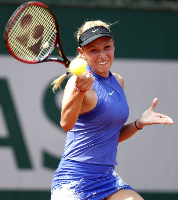 PARIS, May 29, 2017 - Donna Vekic of Croatia competes during the women's singles first round match with Zhang Shuai of China at French Open Tennis Tournament 2017 in Roland Garros, Paris, France on ...