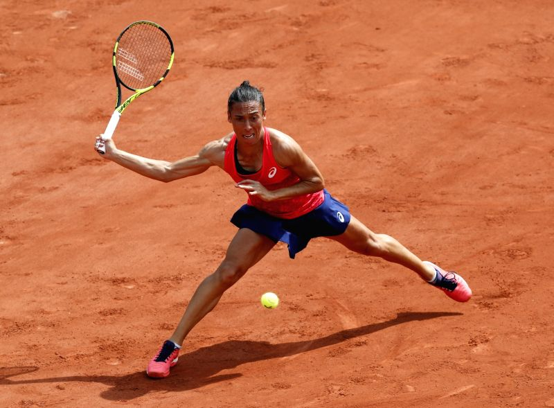 PARIS, May 29, 2017 - Francesca Schiavone of Italy competes during the women's singles first round match with Garbine Muguruza of Spain at French Open Tennis Tournament 2017 in Roland Garros, Paris, ...