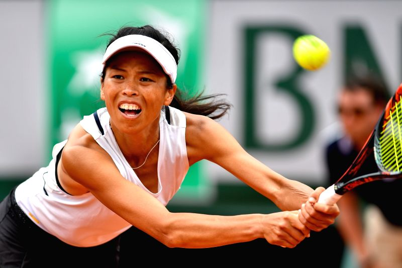PARIS, May 30, 2017 - Hsieh Su Wei of Chinese Taipei returns a shot during the women's singles first round match against Johanna Konta of Britain at the French Open Tennis Tournament 2017 in Paris, ...