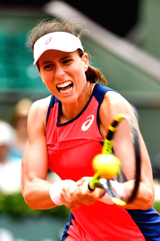 PARIS, May 30, 2017 - Johanna Konta of Britain returns a shot during the women's singles first round match against Hsieh Su Wei of Chinese Taipei at the French Open Tennis Tournament 2017 in Paris, ...