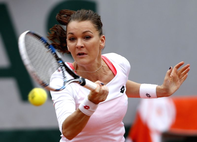 PARIS, May 31, 2016 - Agnieszka Radwanska of Poland competes during the women's singles fourth round match against Tsvetana Pironkova of Bulgaria at the French Open tennis tournament at Roland Garros ...