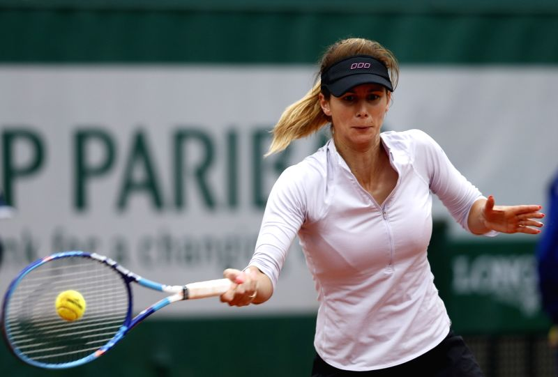 PARIS, May 31, 2016 - Tsvetana Pironkova of Bulgaria competes during the women's singles fourth round match against Agnieszka Radwanska of Poland at the French Open tennis tournament at Roland Garros ...