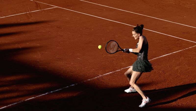 PARIS, May 31, 2017 - Agnieszka Radwanska of Poland returns the ball during the women's singles first round match with Fiona Ferro of France at French Open Tennis Tournament 2017 in Roland Garros, ...