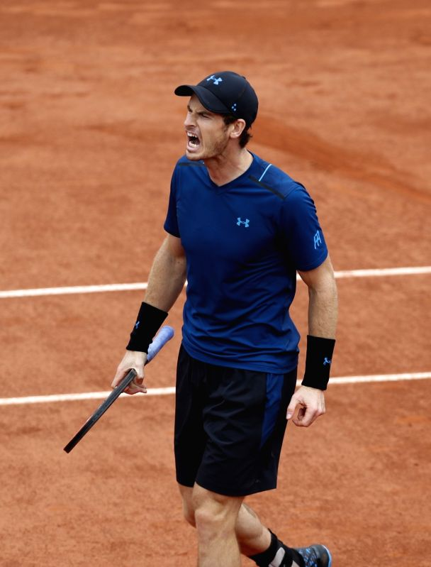 PARIS, May 31, 2017 - Andy Murray of Britain celebrates during the men's singles first round match with Andrey Kuznetsov of Russia at French Open Tennis Tournament 2017 in Roland Garros, Paris, ...
