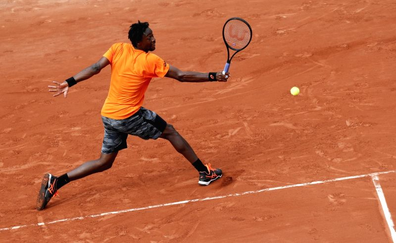 PARIS, May 31, 2017 - Gael Monfils of France returns the ball during the men's singles first round match with Dustin Brown of Germany at French Open Tennis Tournament 2017 in Roland Garros, Paris, ...