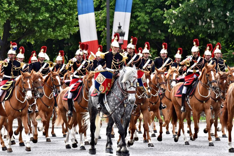 PARIS, May 8, 2017 - Members of French military troops of honor attend the ceremony marking the 72nd anniversary of the victory during World War II on May 8, 1945 in Paris, France, on May 8, 2017. ...