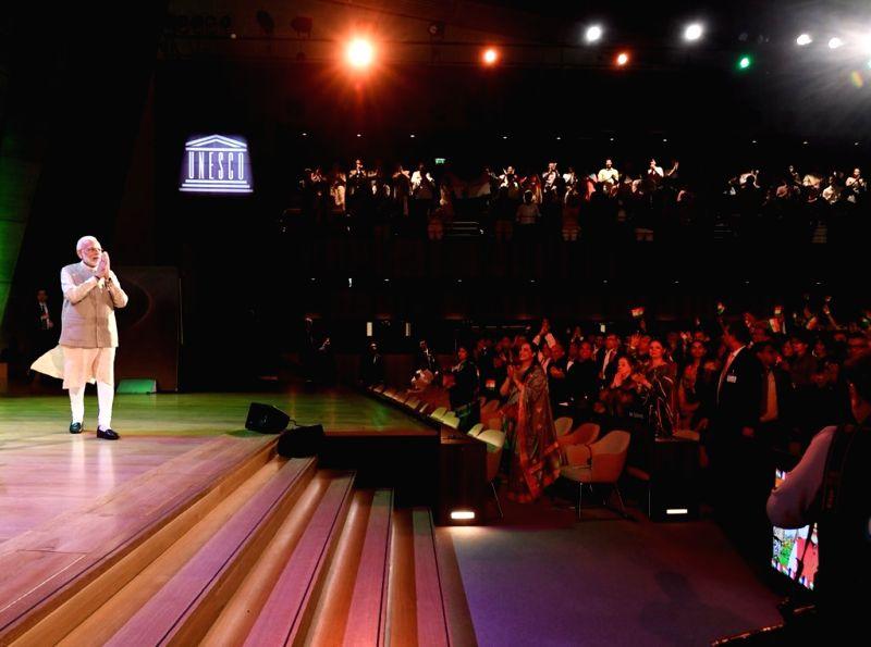 Paris: Prime Minister Narendra Modi during a programme organsied at UNESCO headquarters in Paris, France on Aug 23, 2019. (Photo: IANS/PIB)