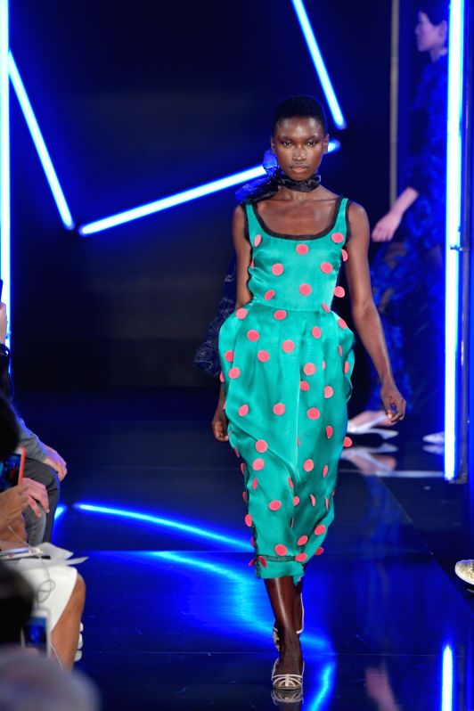 PARIS, Sept. 29, 2017 - A model presents a creation of Emanuel Ungaro during the fashion week for 2018 spring/summer women's collection in Paris, France, on Sept. 29, 2017.