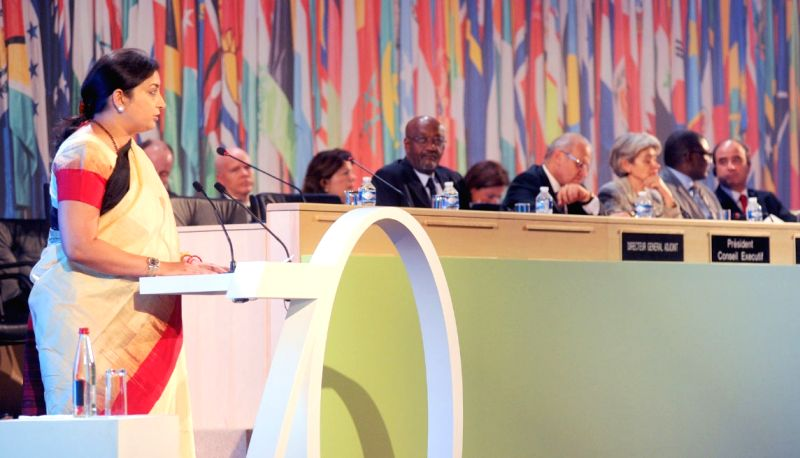 Paris : Union Minister for Human Resource Development Smriti Irani addresses at UNESCO's Leaders' Forum to commemorate UNESCO's 70th Anniversary, in Paris, France on Nov 16, 2015.