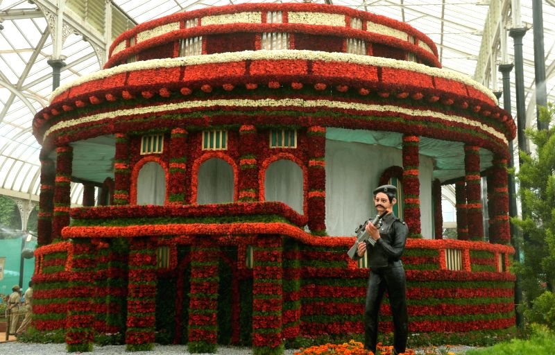 Parliament house made of flowers being on display during the inauguration of the Independence Day Flower Show at Lalbagh in Bengaluru on Aug. 6, 2016.