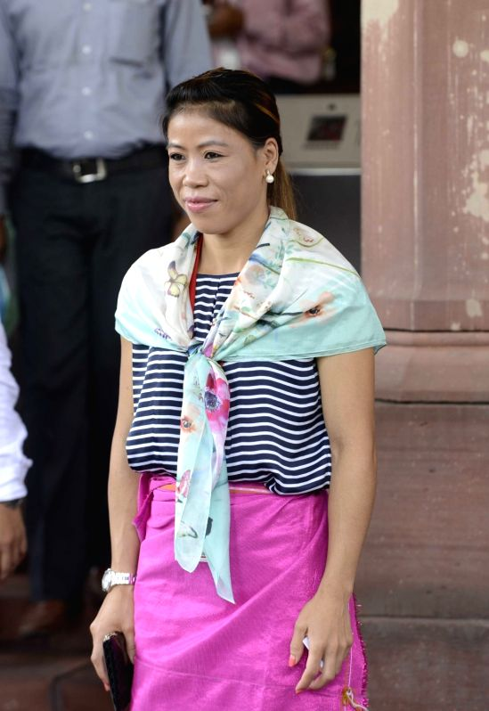 Parliamentarian Mary Kom at Parliament in New Delhi, on July 22, 2016.
