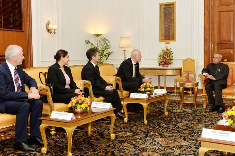 Parliamentary delegation from Slovenia led by Slovenia National Assembly president Dr. Milan Brglez calls on the President Pranab Mukherjee at Rashtrapati Bhavan, in New Delhi on Nov 26, ... - Pranab Mukherjee