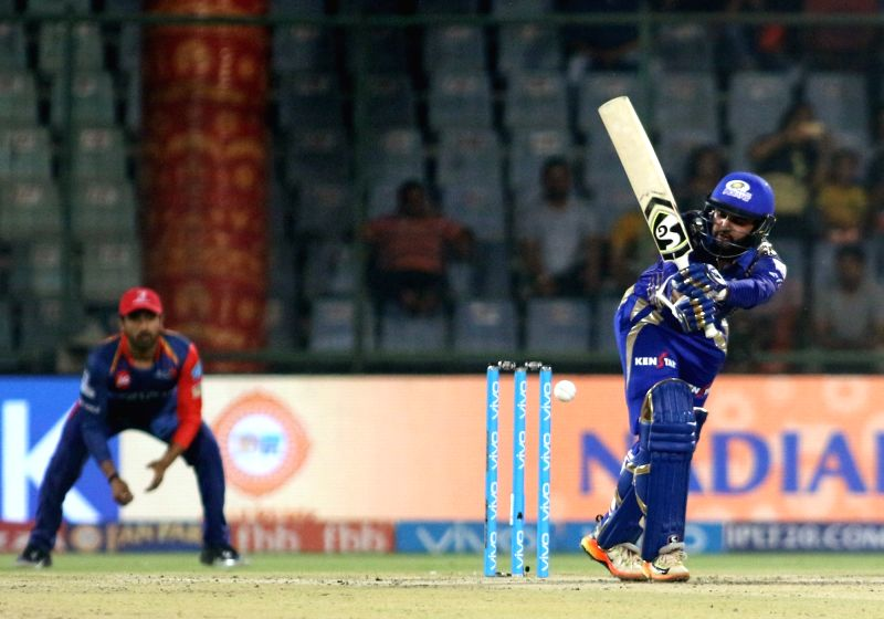 Parthiv Patel of Mumbai Indians in action during an IPL 2017 match between Mumbai Indians and Delhi Daredevils at Feroz Shah Kotla in New Delhi, on May 6, 2017. - Parthiv Patel and Feroz Shah Kotla