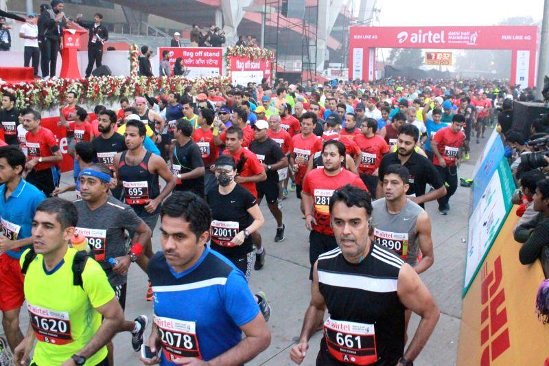 Participants at the Airtel Delhi Half Marathon,on Nov 29, 2015.