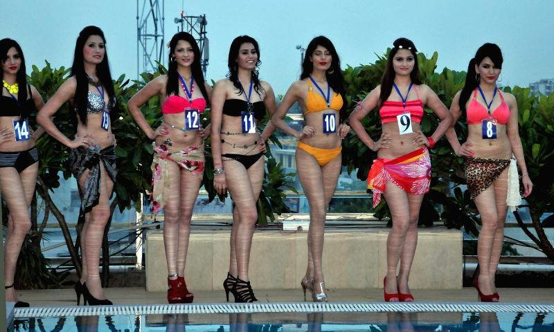 Participants of `Miss North India 2014` during a pool party at Haut Monde Hotel in Gurgaon on June 26, 2014.
