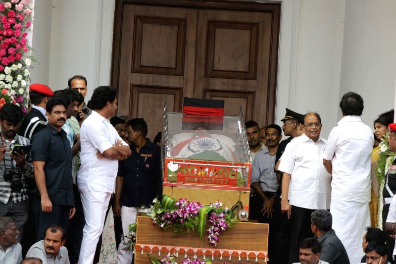 Party supporters pays last respect to DMK patriarch M. Karunanidhi at Rajaji Hall in Chennai on Aug. 8, 2018.