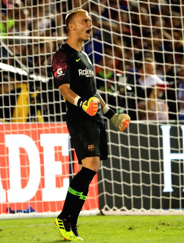 PASADENA, July 29, 2018 - Barcelona's goalkeeper Jasper Cillessen celebrates during the International Champions Cup soccer match between Barcelona and Tottenham Hotspur in Pasadena, the United ...