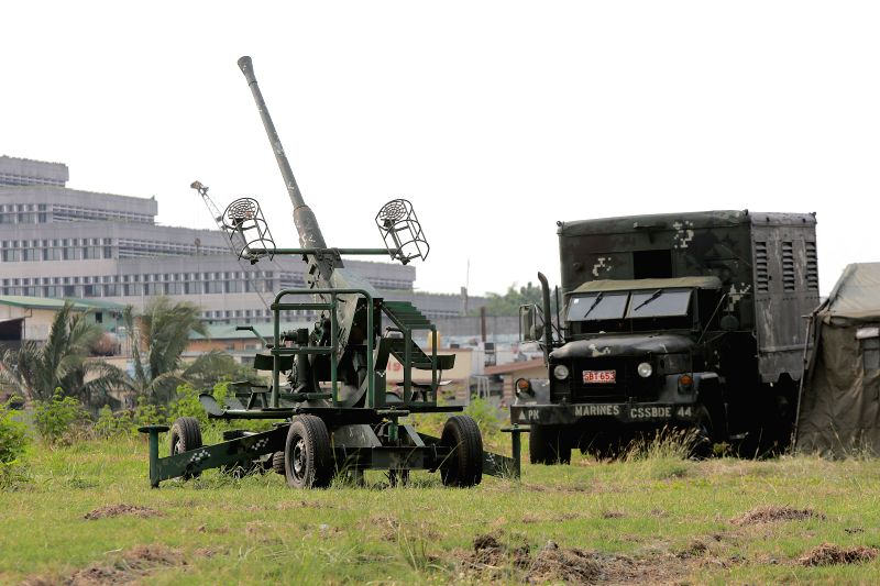 PASAY CITY, April 27, 2017 - An anti-aircraft artillery is positioned near the Philippine International Convention Center (PICC), the venue for this year's Association of Southeast Asian Nations ...
