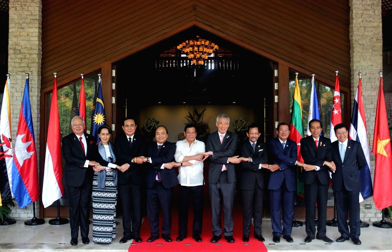 PASAY CITY, April 29, 2017 - ers of the Association of Southeast Asian Nations (ASEAN) hold hands for a family photo during the opening ceremony of the 30th ASEAN Summit at the Philippine ...