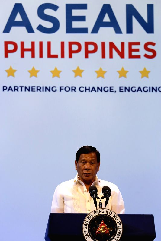 PASAY CITY, April 29, 2017 - Philippine President Rodrigo Duterte delivers a speech during the opening ceremony of the 30th Association of Southeast Asian Nations (ASEAN) summit in Pasay City, the ...