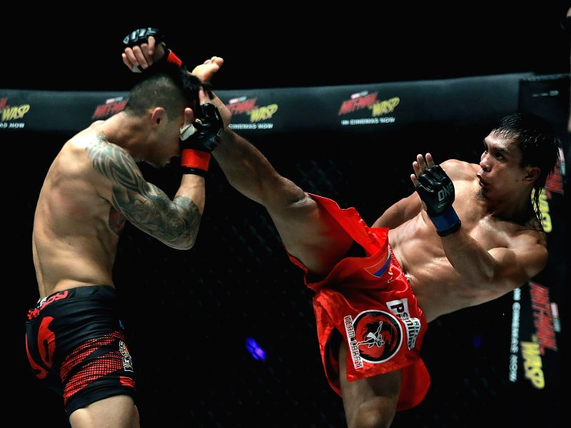 PASAY CITY, July 28, 2018 - Kevin Belingon (R) of the Philippines competes against Martin Nguyen of Australia during their interim bantamweight world championship title match in the One Championship ...