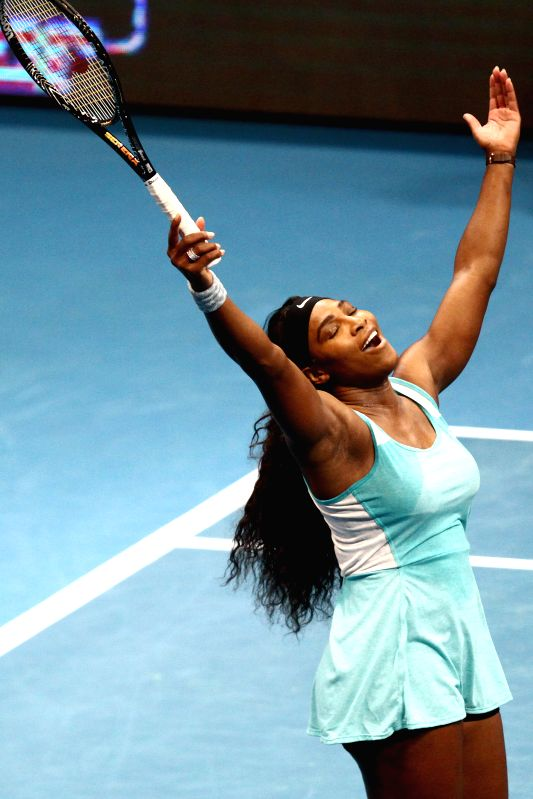 Pasay City (Philippines): DBS Singapore Slammers player Serena Williams of the United States celebrates after the women's singles match against Manila Mavericks player Kirsten Flipkens of Belgium in .