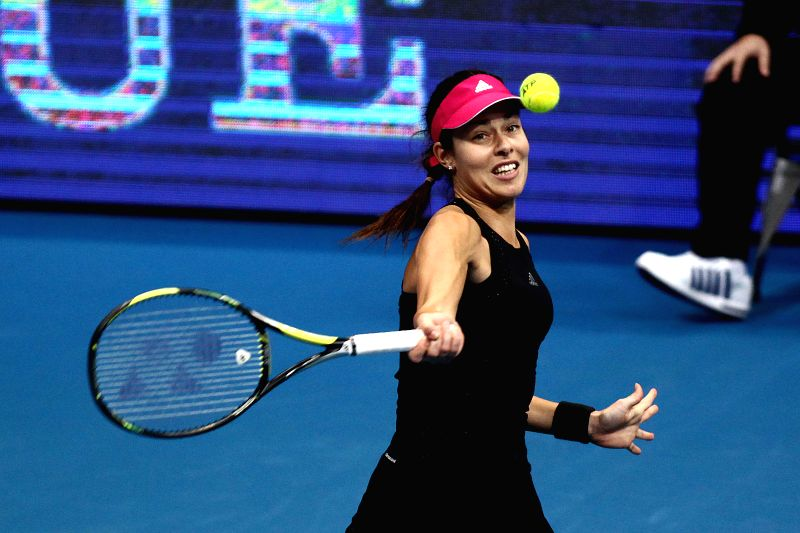 Pasay City (Philippines): Micromax Indian Aces player Ana Ivanovic of Serbia returns the ball against UAE Royals player Kristina Mladenovic of France during their women's singles match in the ...