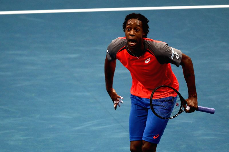Pasay City (Philippines): Micromax Indian Aces player Gael Monfils of France celebrates during his men's singles match against UAE Royals player Marin Cilic of Croatia in the International Premier ...