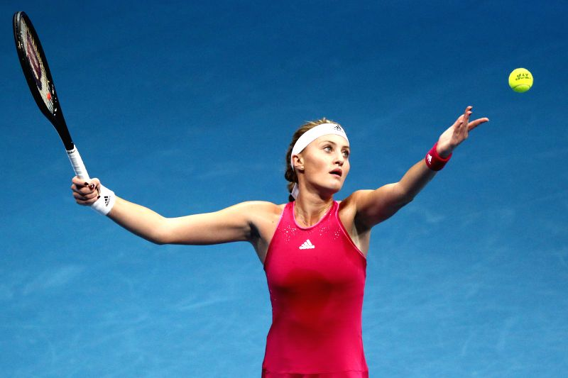 Pasay City (Philippines): UAE Royals player Kristina Mladenovic of France serves against Micromax Indian Aces player Ana Ivanovic of Serbia during their women's singles match in the International ...