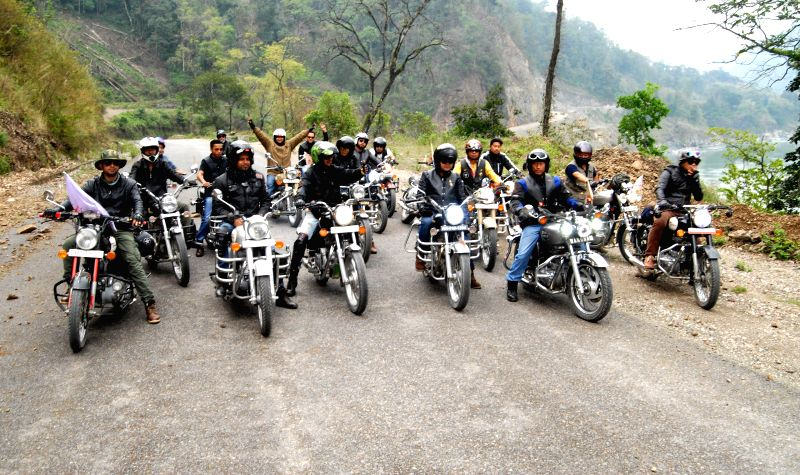 The members of Arunachal Bullet Club from Itanagar take part during the inaugural function of the 1st Arunachal Spring carnival in Pasighat in East Siang district of Arunachal Pradesh on ...