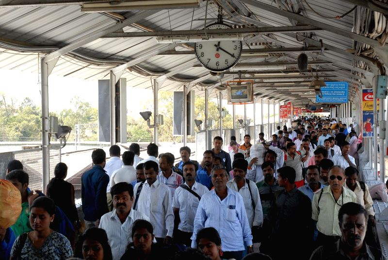 Passengers at City Railway Station, Central railway budget was presented by Union Railway Minister PK Bansal at Parliament in Bengaluru on Tuesday 26th of February 2013.