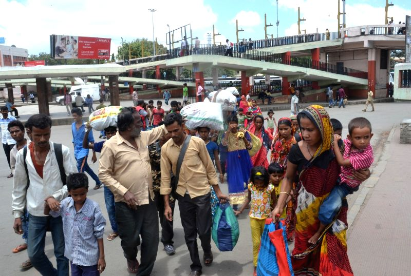 Passengers had a tough time finding a transport during a strike called by BMTC, KSRTC, NEKRTC and NWKRTC; in Bengaluru on July 25, 2016.