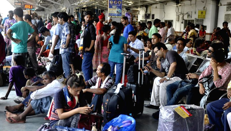 Passengers stranded at Guwahati Railway station after many trains were delayed due to derailment of Delhi-Dibrugarh Rajdhani Express near Goldenganj railway station in Bihar's Saran district on June .
