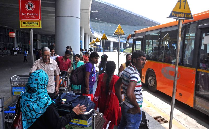 Passengers stranded at Netaji Subhas Chandra Bose Airport as taxi drivers go on strike in Kolkata on Aug 11, 2014.