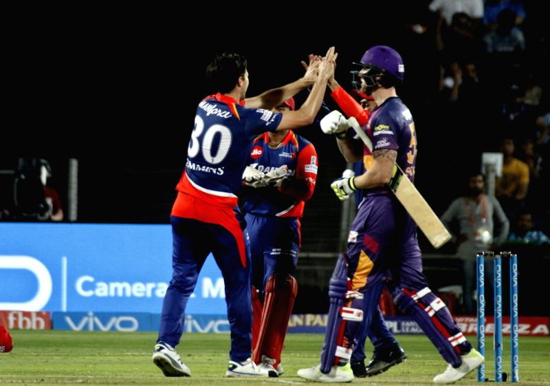 Pat Cummins of Delhi Daredevils celebrates fall of Ben Stokes' wicket during an IPL 2017 match between Rising Pune Supergiant and Delhi Daredevils at Maharashtra Cricket Association Stadium in ...