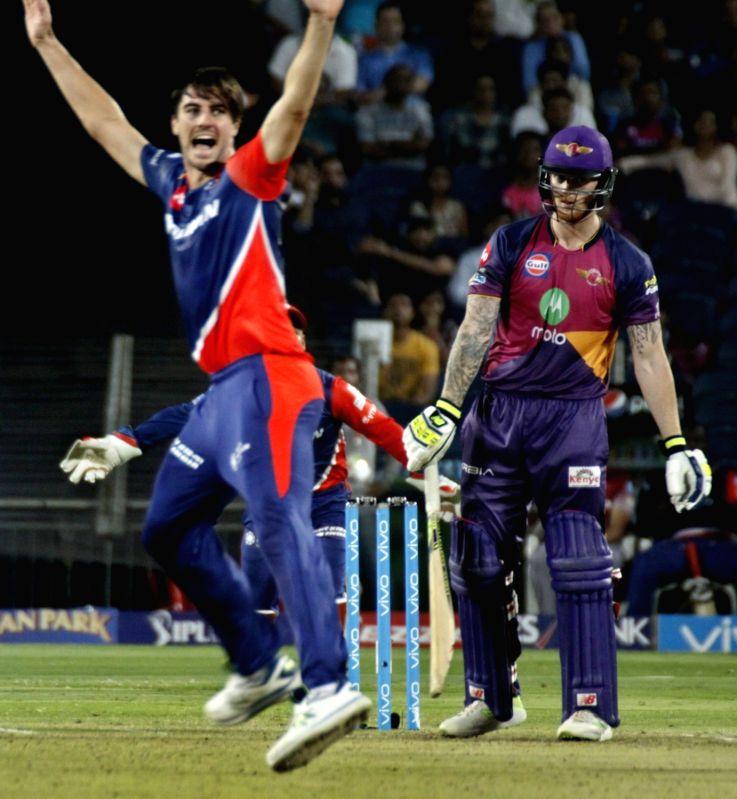 Pat Cummins of Delhi Daredevils celebrates fall of Ben Stokes' wicket during an IPL 2017 match between Rising Pune Supergiant and Delhi Daredevils at Maharashtra Cricket Association Stadium in ...