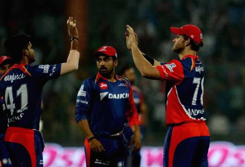 Pat Cummins of Delhi Daredevils celebrates fall of Dinesh Karthik's wicket during an IPL 2017 match between Delhi Daredevils and Gujarat Lions at Feroz Shah Kotla in New Delhi, ... - Feroz Shah Kotla