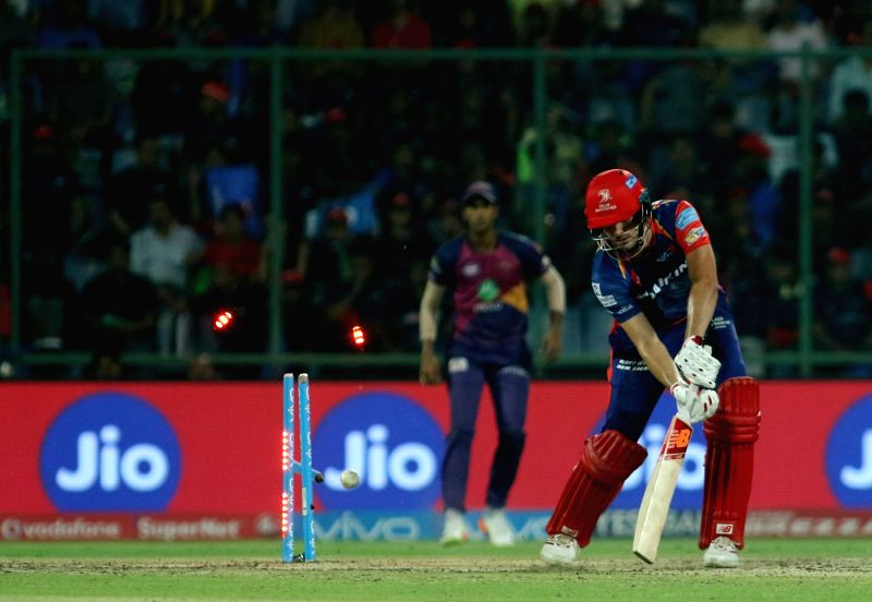 Pat Cummins of the Delhi Daredevils is bowled by Be Stokes of Rising Pune Supergiant during match between Delhi Daredevils and Rising Pune Supergiant held at the Feroz Shah Kotla Stadium ...