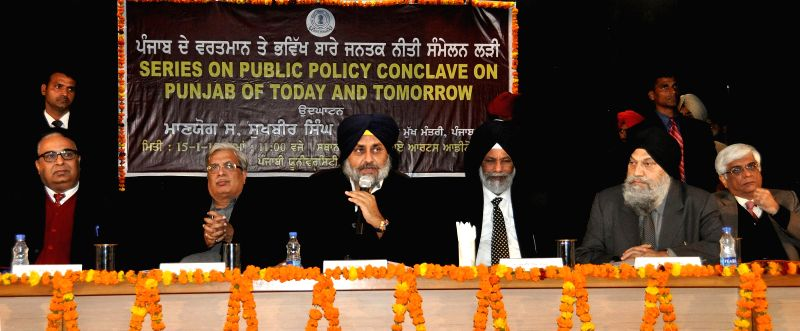 Punjab Deputy Chief Minister Sukhbir Singh Badal during `Series on Public Policy Conclave On Punjab Of Today and Tomorrow` in Patiala, on Jan 15, 2015. - Sukhbir Singh Badal