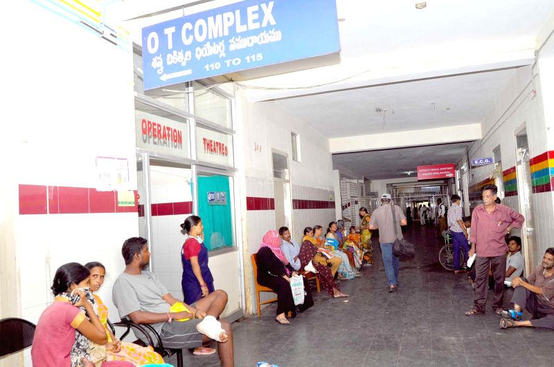 Patients inconvenienced as Junior doctors of Gandhi Hospital go on a strike in Hyderabad on July 2, 2014.