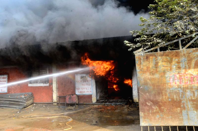A major fire breaks out at a railway godown in Patna on Dec 10, 2014.