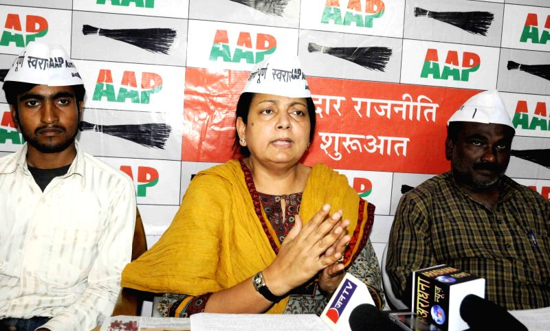 Aam Aadmi Party leader Parveen Amanullah addresses a press conference in Patna on April 1, 2015.