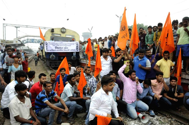 ABVP activists block railways during a shutdown called to protest the police action against its members last week; near Rajendra Nagar Terminal railway station in Patna on March 30, 2015.