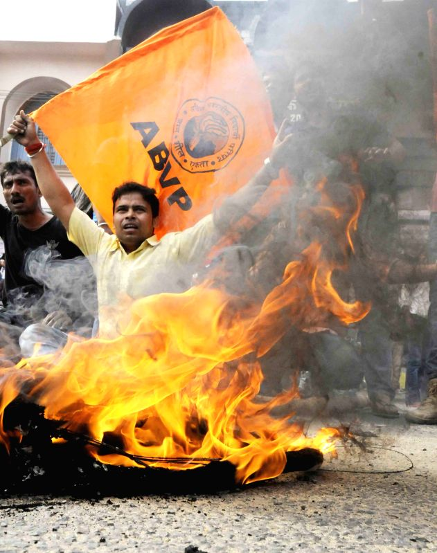 ABVP activists stage a demonstration  during a shutdown called to protest the police action against its members last week; in Patna on March 30, 2015.