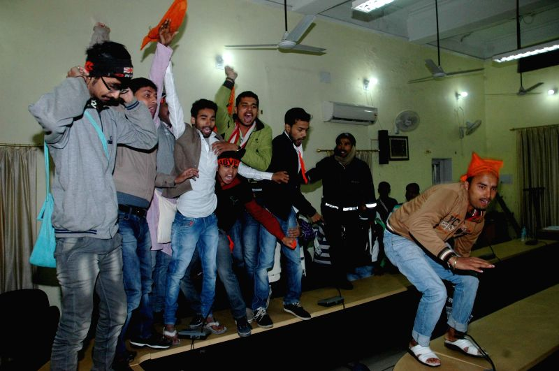 Activists of Akhil Bharatiya Vidyarthi Parishad (ABVP) stage a demonstration at the Bihar School Examination Board office in Patna on Jan 10, 2015.