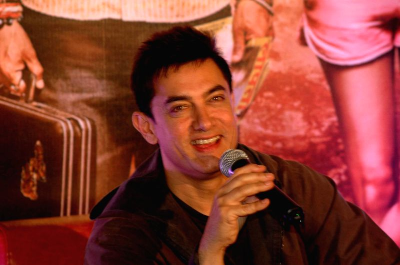 Actor Aamir Khan during a press conference for the promotion of his upcoming film `PK` in Patna on Dec. 6, 2014.