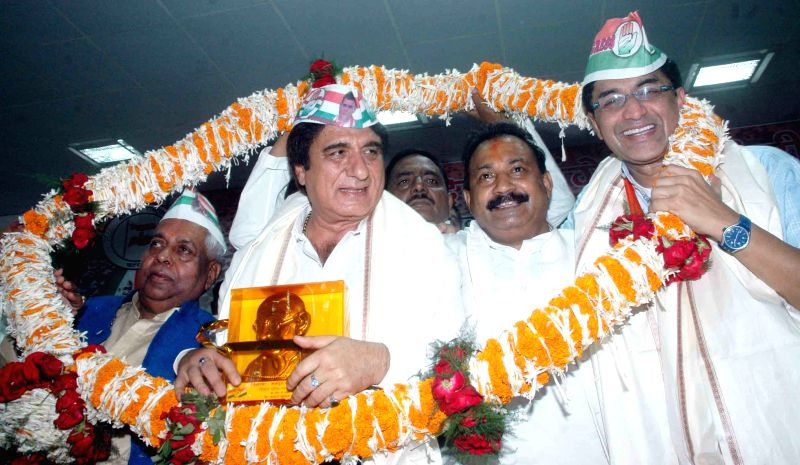 Actor-turned politician Raj Babbar during a Congress programme in Patna, on April 7, 2015.