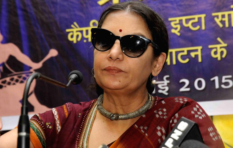 Actress Shabana Azmi addresses during a press conference in Patna on May 23, 2015.