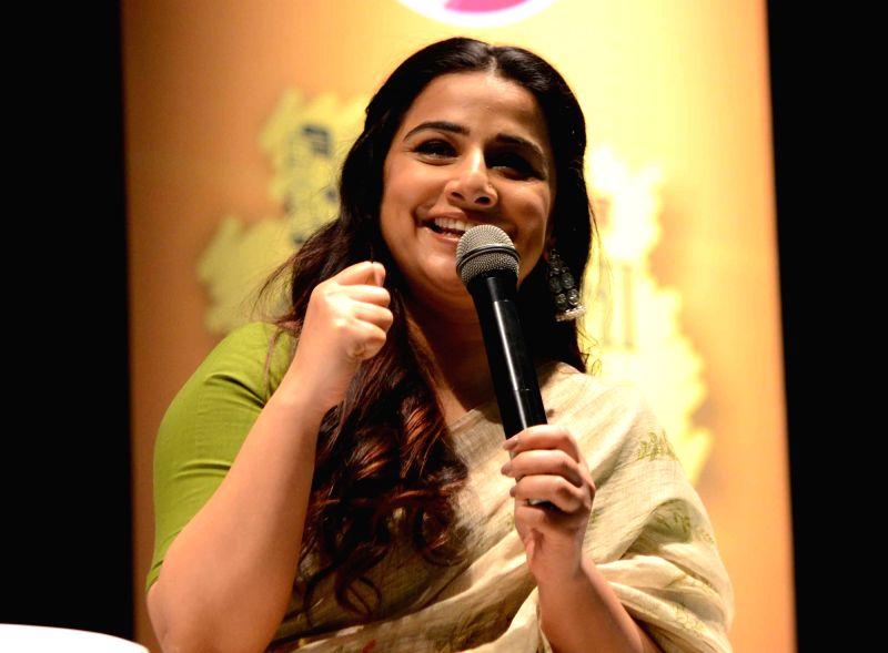 Actress Vidya Balan addresses during a programme in Patna(Image Source: IANS News)