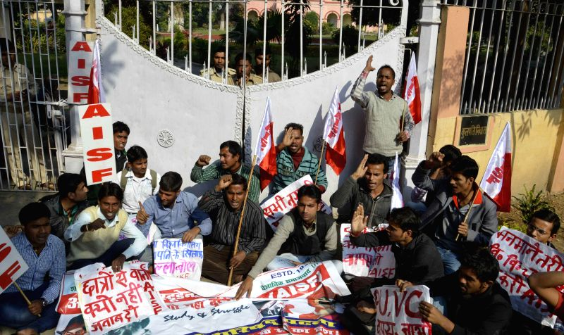 AISF activists stage a demonstration against Patna University VC in Patna on Nov 25, 2014.